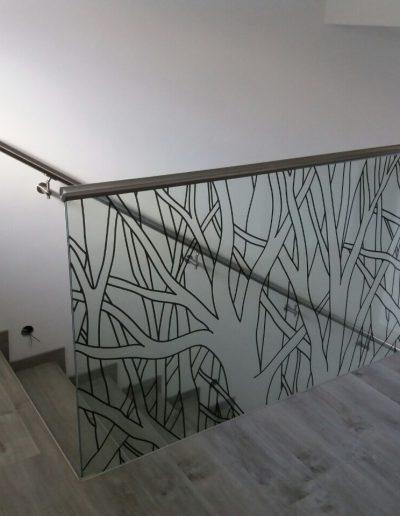 Grafosklo - sklo - skleněné zábradlí - schody schodiště Brno