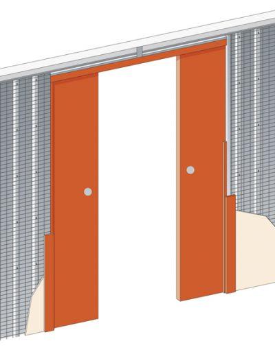 stavební pouzdro pro posuvné interiérové dveře JAP